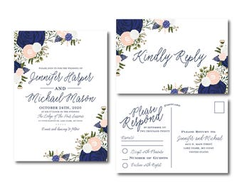 Floral Wedding Invitation Set, Blush and Navy Wedding Invitations, RSVP Postcard, Blush Invitation, Floral Wedding Set, Wedding Suite #CL325
