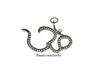 Micro Pave Ohm Pendant,Yoga Ohm Charm,Yoga Jewelry,Ohm Yoga Pendant,CZ Ohm Charm, 39x28mm