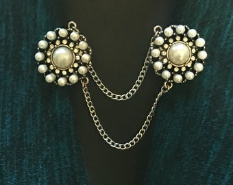 Sweater Clips :Rhinestone and Pearl Medallions
