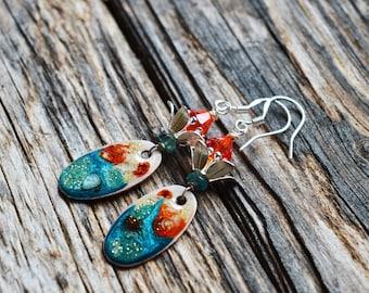 Enamelled Hand Painted floral earrings,Turquoise Orange Copper,Artisan enamelled copper,sterling silver earwires,Apatite Swarowski Earrings