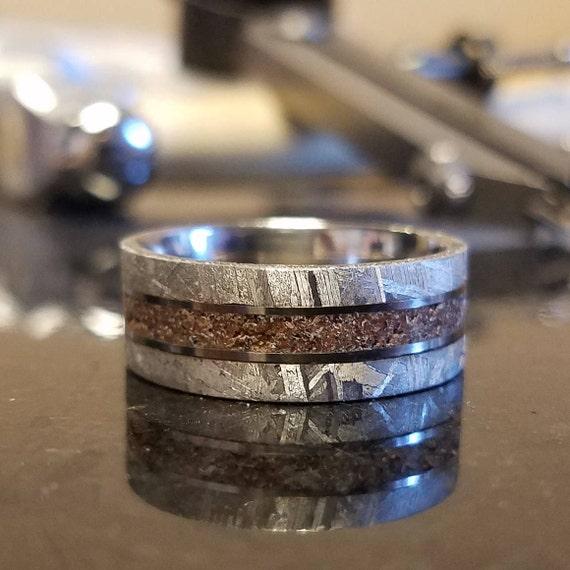 8mm Dinosaur Bone And Gibeon Meteorite Ring Custom Made
