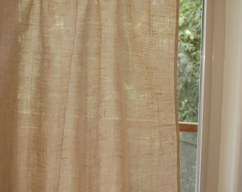 Lovely, rustic chic Burlap cafe curtain panel in natural burlap with hand embroidered hem.Custom color embroidery. Custom sizes available.