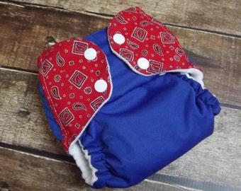 Nykibaby One Size Pocket Cloth Diaper Embellished Tabs Bandana PUL