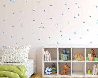Light Blue Triangle Wall Decal, Baby Nursery Blue Vinyl Decal, Patterned Triangles Wall Stickers for Children