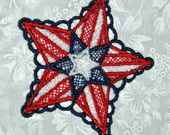 Two Patriotic Stars, Machine embroidered lace, red, white and blue, 3 inches across