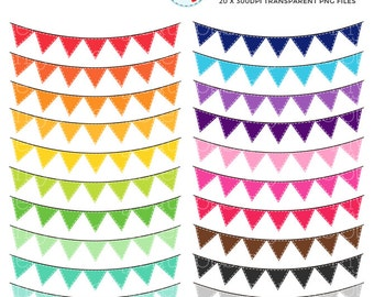 Stitched Bunting Clipart Set - clip art set of rainbow bunting, stitched bunting - personal use, small commercial use, instant download