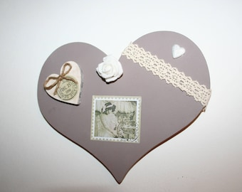 heart hanging decoration retro vintage taupe wood