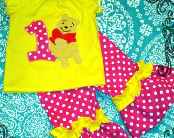 Pooh Bear Birthday Outfit Ruffled Pant Set WithOUT Name - Custom Boutique Hot PINK Dot & Yellow OUTFIT - 1st 2nd 3rd 4th 5th Winnie the Pooh
