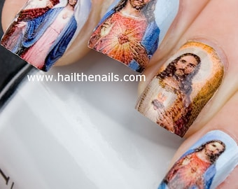 Jesus & Mary Nail Art Water Transfer Decal Full Nail Wrap Y16