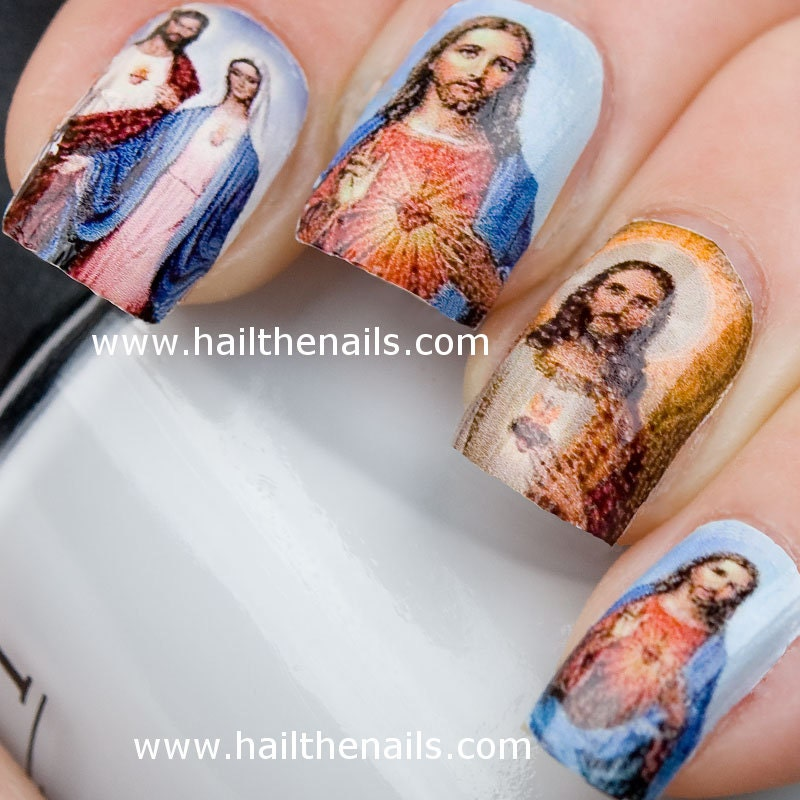 Jesus mary nail art water transfer decal full nail wrap y16 zoom prinsesfo Gallery