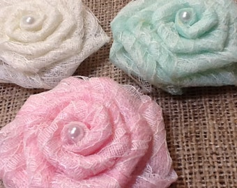 Delicate Lace Rose Flowers with Pearl Center and Burlap Back Pink or Mint Tulle Infused Option Wedding Venue Table Baby Shower Decor