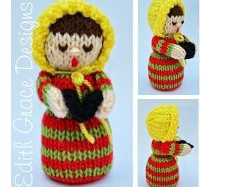 Christmas Toy Knitting Pattern, Doll Knitting Pattern, Christmas Carol Singer, Christmas Ornaments Decorations, Knit Doll, Rag Doll Pattern