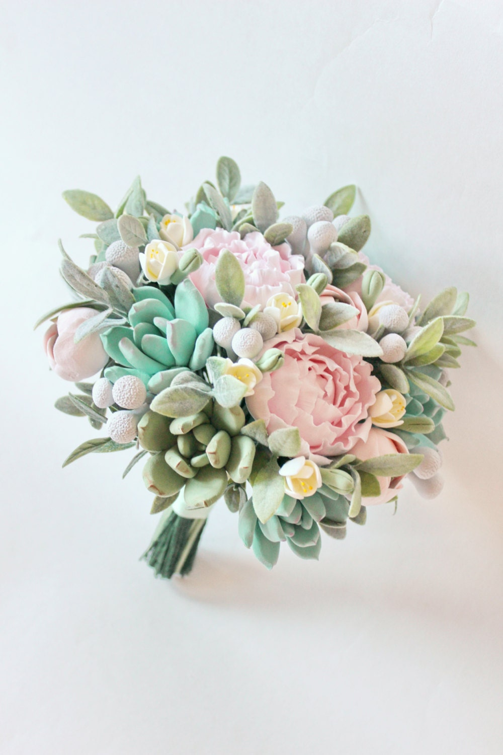 Wedding bouquet clay succulent bouquet mint pink bridal zoom izmirmasajfo Images