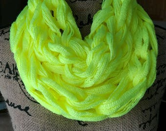 READY TO SHIP/Neon Yellow Cowl/Yellow Scarf/Cowl/Arm Knit Cowl/Infinity Scarf/Circle Scarf