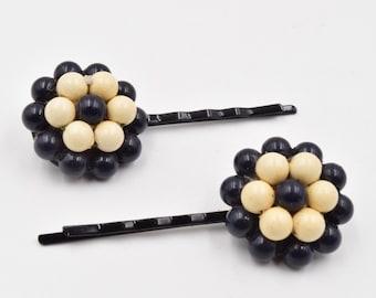 Black flower hair pins,  black beaded bobby pins,  beaded flower hair pin, 1950s vintage earring  hair pin, flower hair clip, black and tan