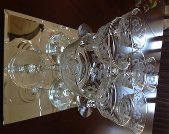 Vintage Crystal Champagne Coupes or Sorbet Dishes - Set of 7 Etched