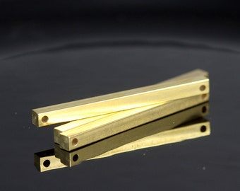 "raw brass bar connector square stamping 4x50mm 0,16""x2""   finding square rod (2mm 5/64"" 12 gauge hole ) sbl450-1091W-65"