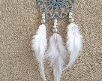 Mini gray white dream catcher car dreamcatcher crochet doily dream catchers feathers boho dreamcatcher  wrap packing decor