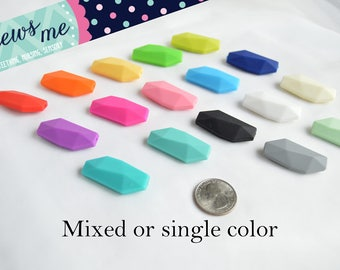 crystal shape teething bead 5 or 10 pieces orthorhombic silicone teether sensory chew bite chewable nursing bead 100% FDA food grade beads