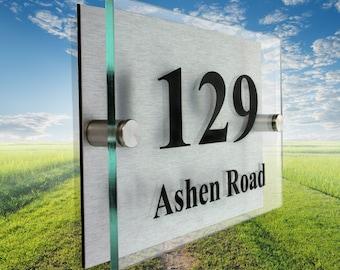House Sign - Designer Acrylic Address Plaque - 2 part stand off design