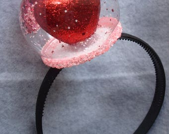 Snowglobe Headband Valentines Day Headband Heart Headband Hair Accessory Glitter Love Hair Girl Woman One Size Fits All Free Fast Shipping