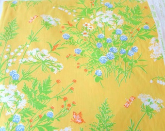 Vintage Waverly Minuet Fabric - Drapery Fabric- Fabric for the Home - Floral Patterned Fabric - Vintage Florals - Bright Yellow - Yardage