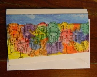 Brownstones blank greeting card with envelope, 5x7 glossy