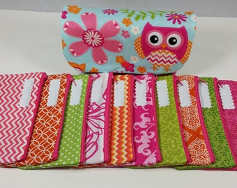 Cash Envelope Wallet JUMBO size, 8 to 15 Cash Envelopes & Pouch -Chevron Dots Owl- (It can be used with the Dave Ramsey system)