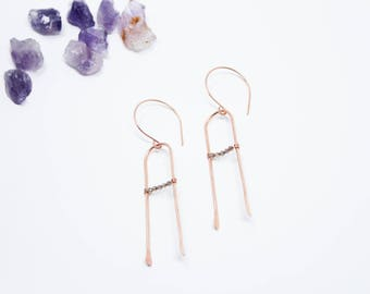Valentine Wish Earrings, Rose Gold Fill and Smokey Quartz Earrings, Gold Fill, Sterling