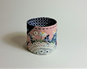 Fabric Cuff Bracelet made from Vintage Quilt Square