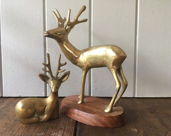 Brass Deer Figurine Stag - Collectible Christmas Decoration or Table Decor Prop Styling Vignette