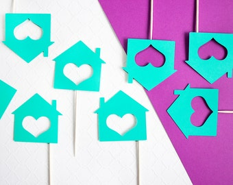 12 Housewarming Cupcake Toppers, New Home, Housewarming, Housewarming Party, Home Sweet Home, House Warming, New Home Decor, Teal Confetti