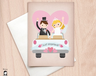 Wedding Car - Just Married - Greeting Card