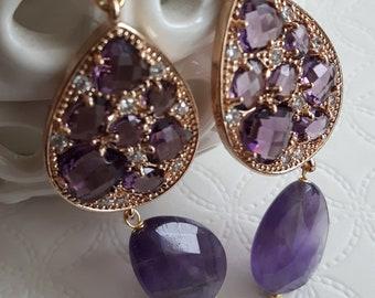 Elegant earrings with amethyst stones