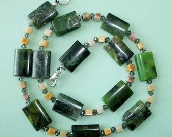 Gemstone Jewelry Necklace - Chrysophrase, Crazy Lace Agate and Swarovski Gemstone Beaded Necklace