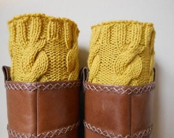 Hand Knitted Boot Cuffs Leg Warmers Mustard Yellow