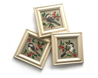 Vintage Framed Bird Cross Stitch Set, Vintage Framed Needlework, Three Framed Cross Stitch Birds, Framed Chickadee and Sparrow Cross Stitch