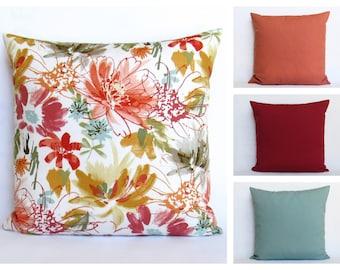 Floral Pillow Cover Decorative Throw Multi Color White 16x16 18x18 20x20 22x22 12x14 12x16 12x18 12x20 14x22 Coordinating Pillows Zipper