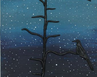 Original Acrylic 3D Painting- Raven's in the moonlight