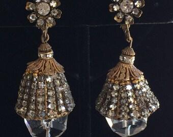 Rare Vintage Miriam Haskell Drop Earrings~Crystals/Rhinestone/Gilt Filigree~Signed