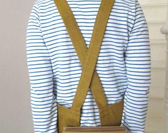 Cross Back Denim Work Apron for Artists & Makers, No ties apron. Golden Ochre No4:3