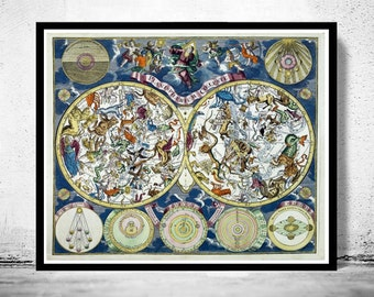 Antique Celestial Map Vintage astronomy 1750