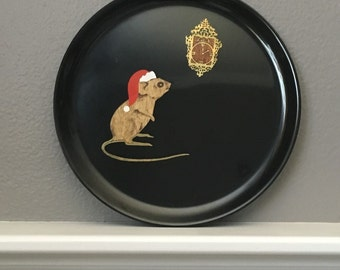 Couroc Christmas Mouse and Clock Plate  1950's Couroc Resin
