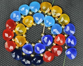 27 piece faceted heart multi color CHALCEDONY briolette beads 11 x 11 mm approx