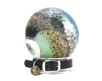 Pet Memorial - Blown Glass Cremation Ash Memorial Jewelry For Your Beloved Pet - Angelic Aqua