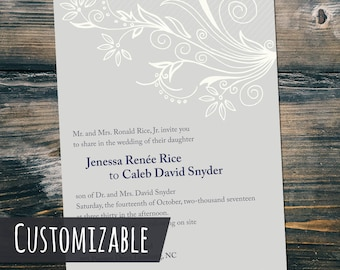 Customizable Wedding Invitation One-sided 5x7