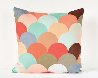 Geometric Decorative Pillow Cover, Nursery Pillow, Kids Room Decor, Pastel Cushion, Colorful Decorative Pillow, Modern Scandinavian Pillow