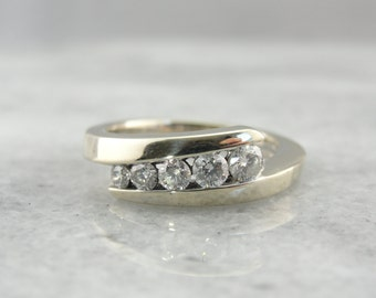 Bypass Beauty, Fine Diamonds, Vintage White Gold Wedding Band - PAFNR5-N