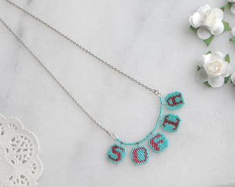 Colorful letter necklace, Colorful initial jewelry, Girls name necklace, Girls Personalized Necklace, Any name necklace