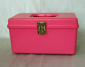 "Vintage Hot Pink Plastic Sewing Box ~ 9.5"" x 6"" x 5.25"" ~ Vintage Sewing ~ Thread Box ~ Wilson Mfg. Corp. ~ Sunbury, PA"